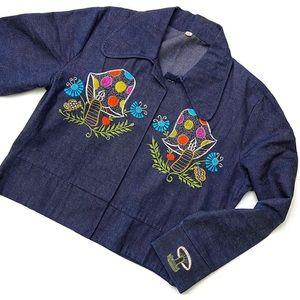 VTG Mushroom Caterpillar Embroidered Denim Jacket